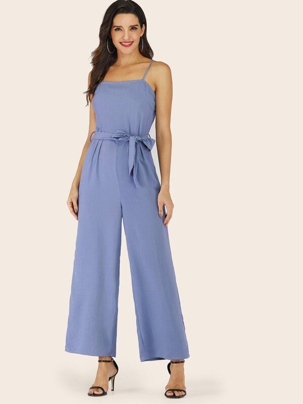 Belted Wide Leg Cami Jumpsuit, Juliana