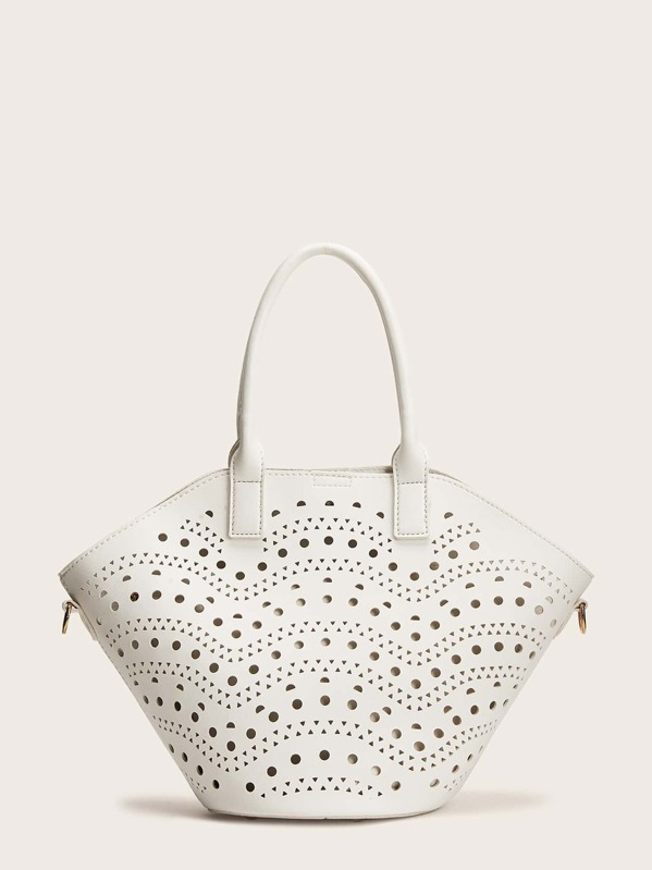 Hollow Out Tote Bag With Inner Pouch, null