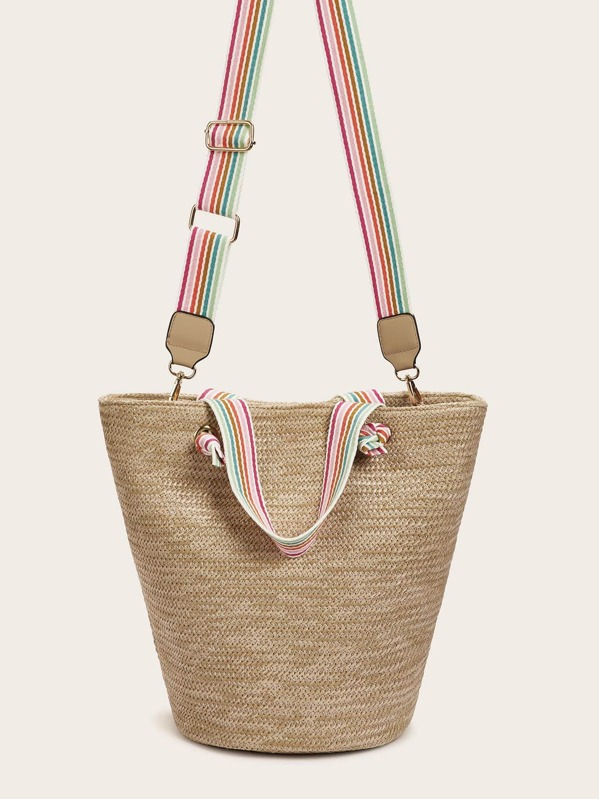 Woven Satchel Bag With Striped Strap, null