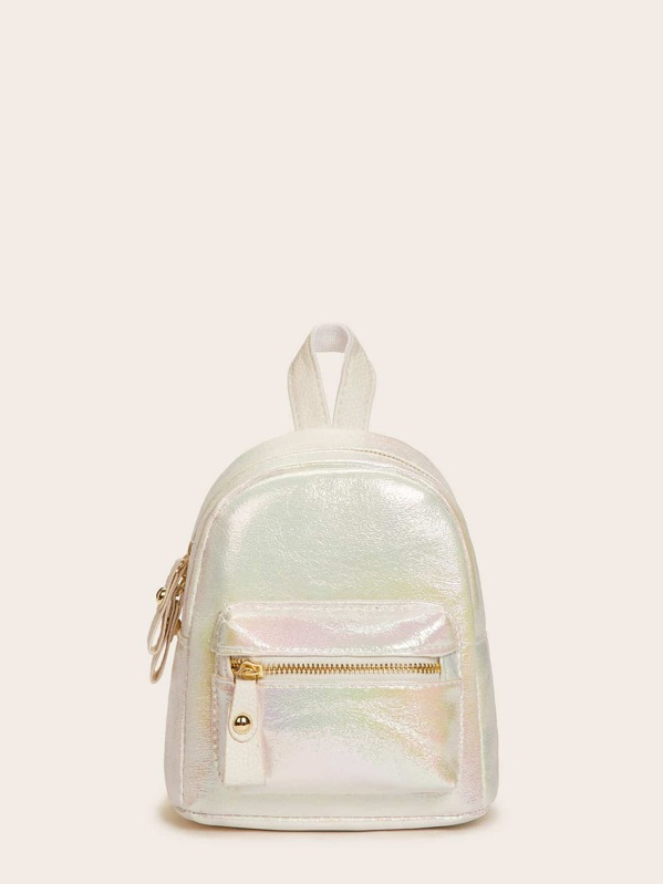 Iridescent Detail Pocket Front Backpack, null