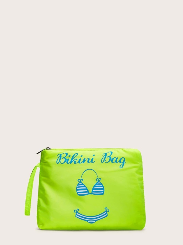 Neon Lime Letter Print Clutch Bag, null