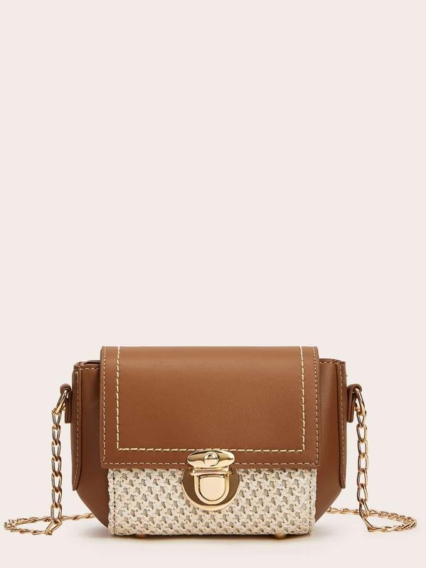 Push Lock Woven Detail Chain Bag, null