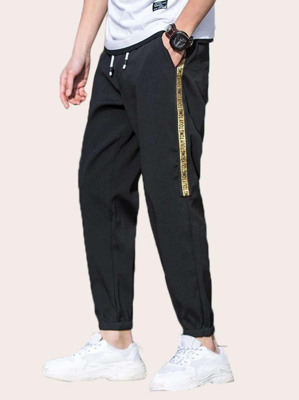 Men Letter Taped Side Pants, null