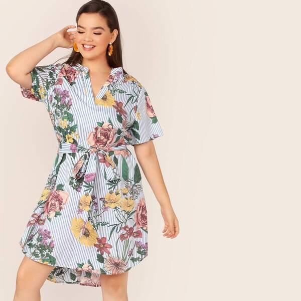Plus V-neck Striped & Floral Print Curved Hem Dress, Multicolor