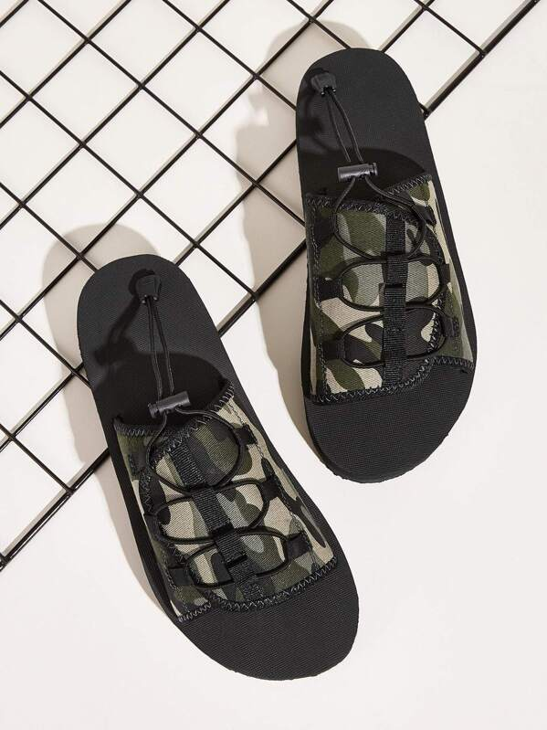 Men Camouflage Print Open Toe Sliders, null