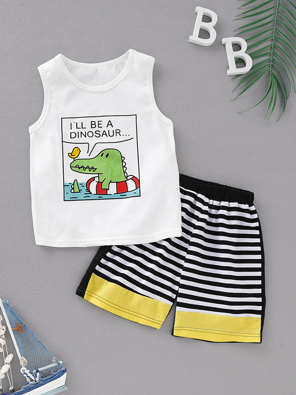 Toddler Boys Cartoon Print Tank Top With Striped Shorts, null
