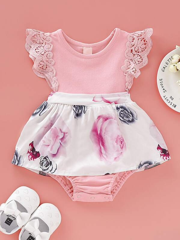 Baby Girl Lace Panel Floral Print Bodysuit, null