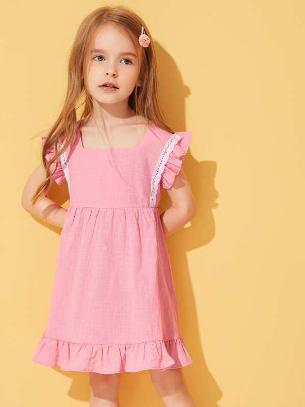Toddler Girls Lace Panel Ruffle Trim Dress, Sofia