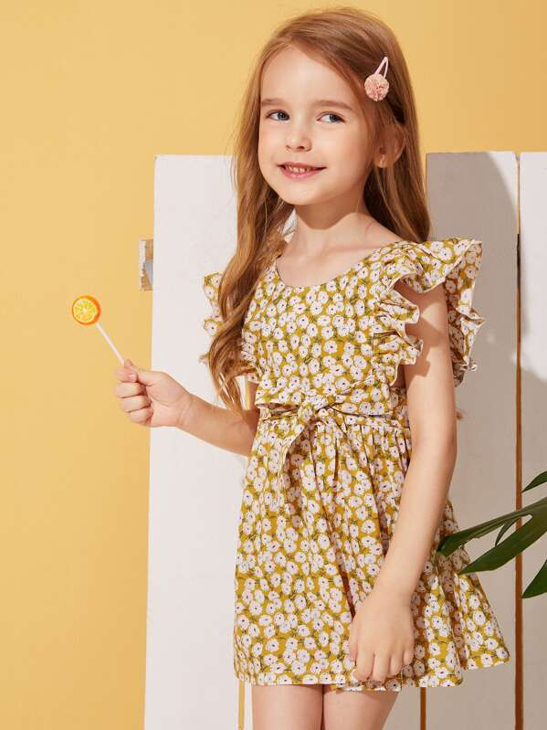 Toddler Girls Ditsy Floral Ruffle Trim Belted Dress, Sofia