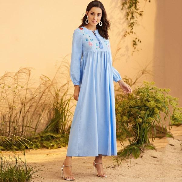 Floral Embroidered Tassel Detail Dress, Blue