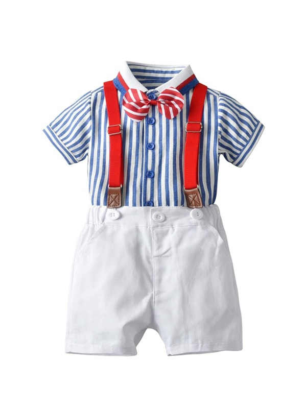 Toddler Boys Bow Front Stripe Shirt & Suspender Pants, null