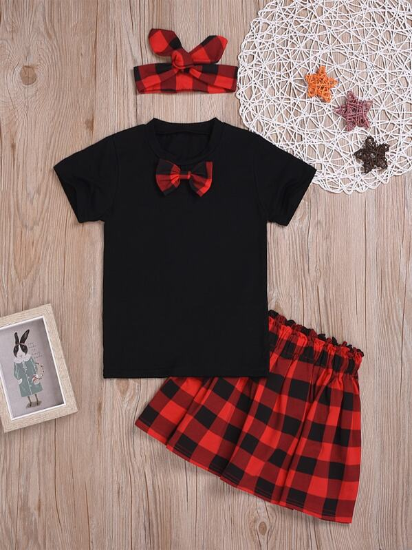 Toddler Girls Bow Front Tee & Tartan Skirt & Headband, null