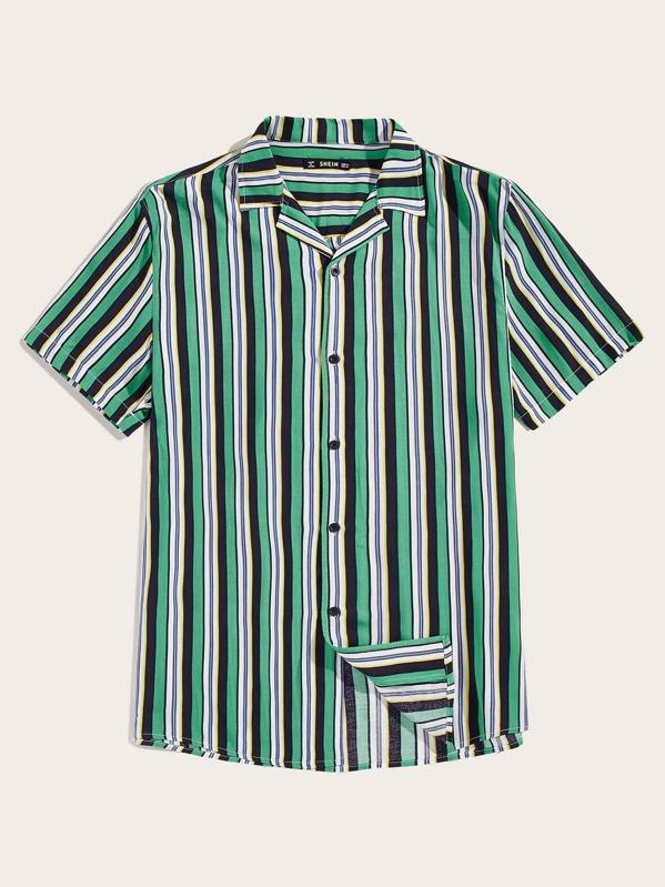 Men Revere Collar Striped Shirt, Multicolor