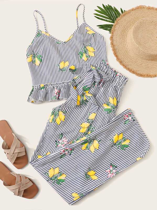 Ruffle Hem Lemon Print Striped Cami Top & Pants PJ Set, Multicolor