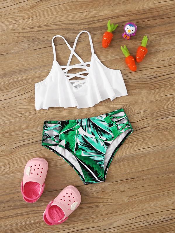 Girls Lattice Top With Tropical Bikini, null