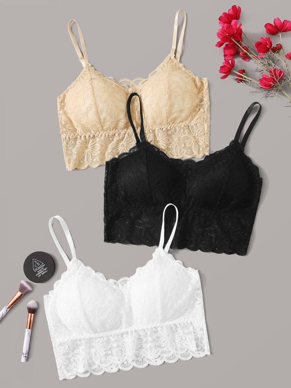 Plus Floral Lace Bra Set 3pack, null