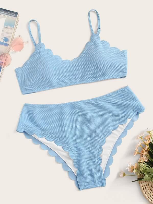 Plus Rib-knit Scallop Trim Bikini Set, null