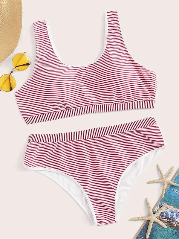 Plus Striped Bikini Set, null