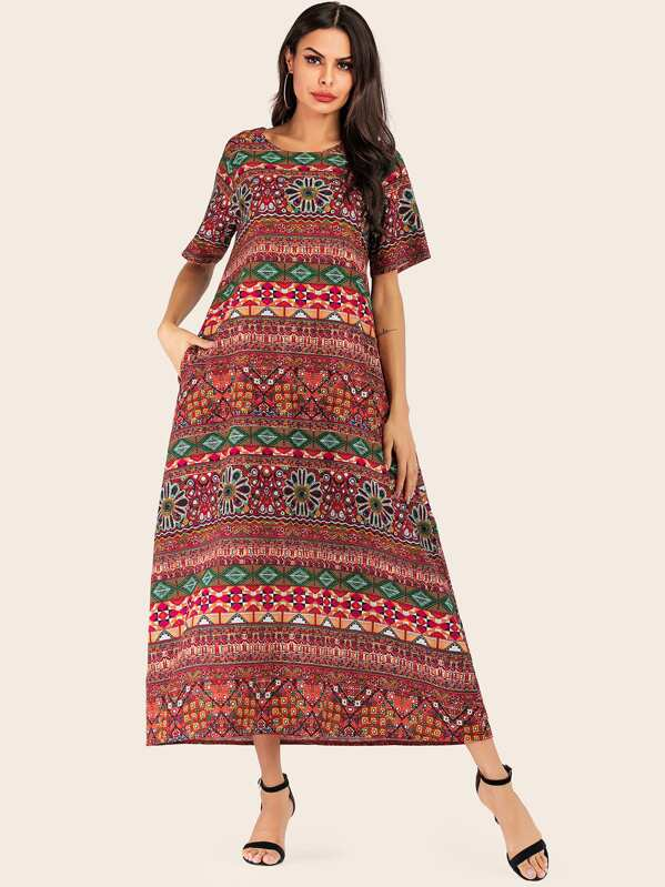 Aztec Print Longline Dress, Multicolor