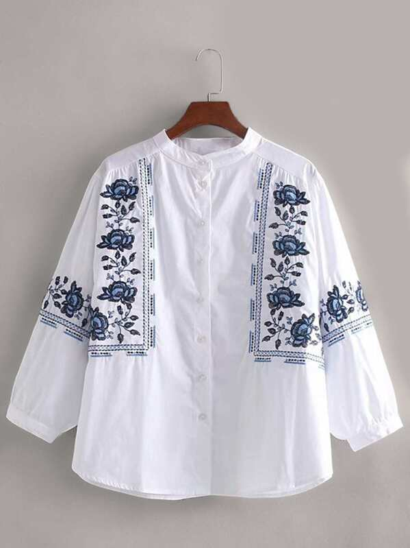 Floral Embroidered Blouse, null