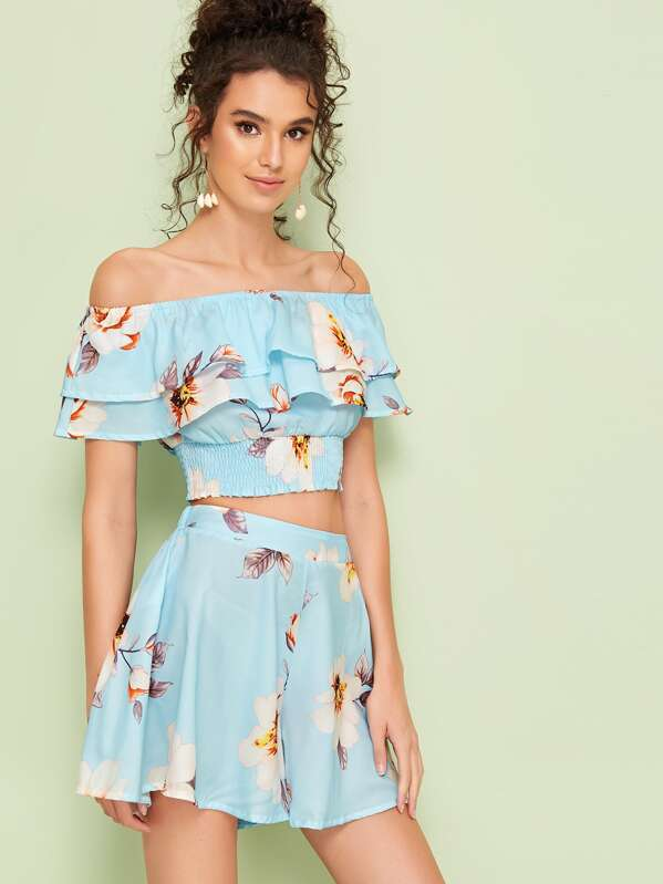 Floral Print Ruffle Trim Crop Blouse With Shorts, Megan