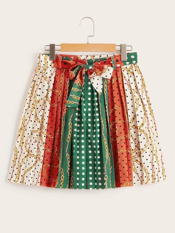 Plus Polka Dot Chain Print Self Tie Skirt
