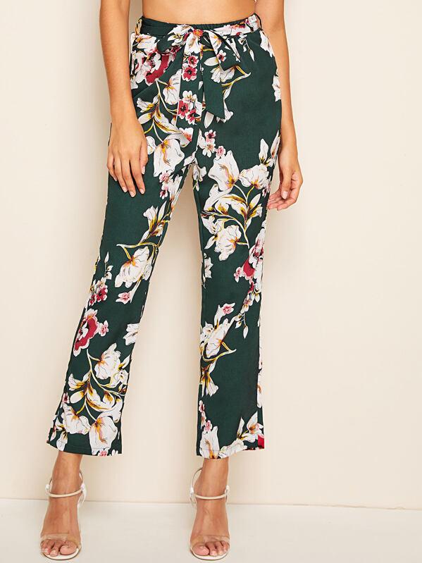 Large Floral Print Belted Pants, Gabi B