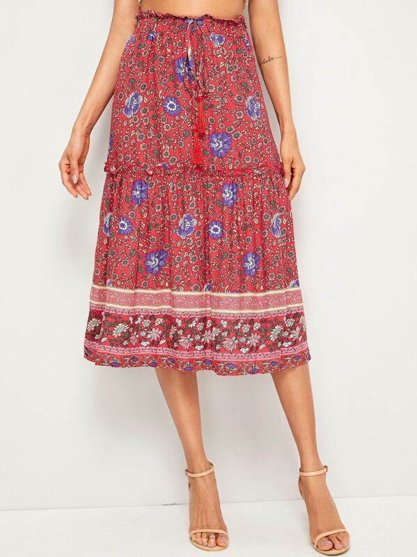 Ditsy Floral Frill Trim Drawstring Waist Skirt, Andy