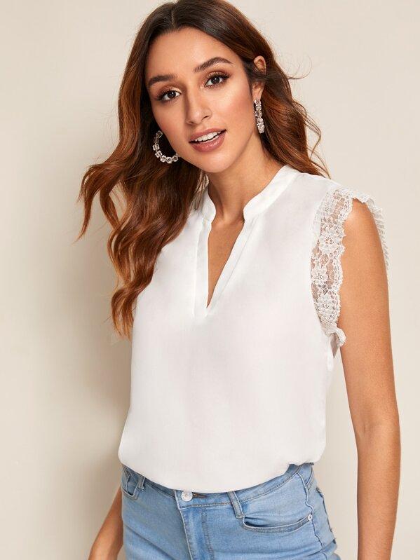 V-cut Lace Insert Cuff Top, White, Gabi B