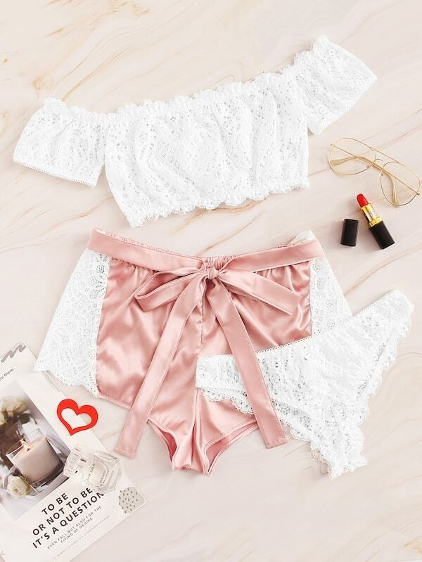 Plus Lace Lingerie Set With Shorts 3pack, null