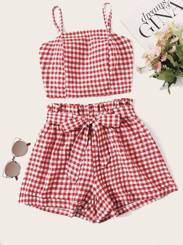 Gingham Shirred Tie Back Cami Top & Belted Shorts, null