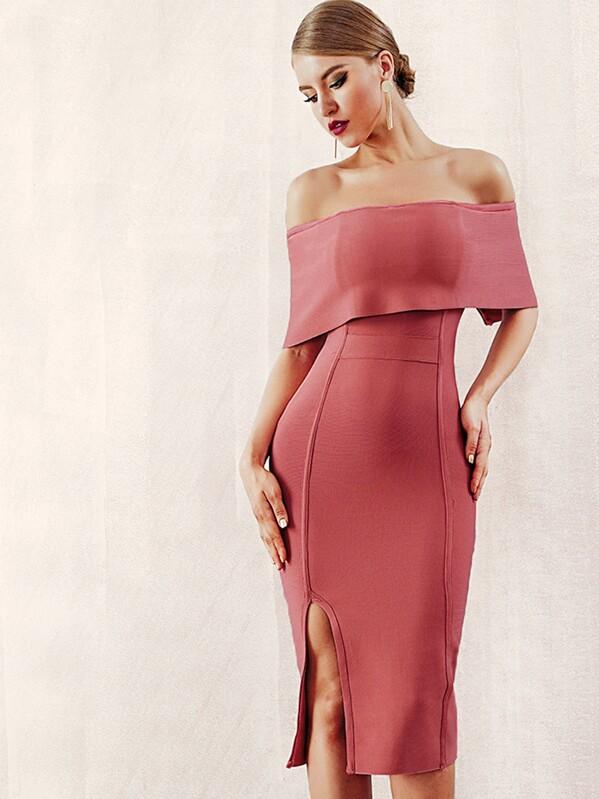 Adyce Zip Back Slit Hem Foldover Bardot Dress