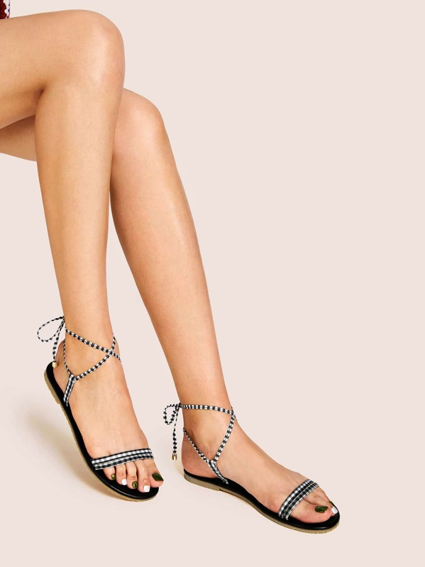 Lace-up Strappy Flat Sandals, null