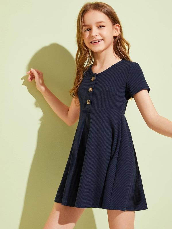 Girls Button Detail Rib-knit Flare Dress, Navy, Sashab
