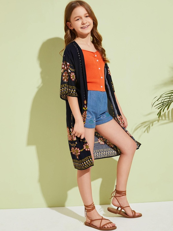 Girls Half Sleeve Tribal Print Kimono, Sashab