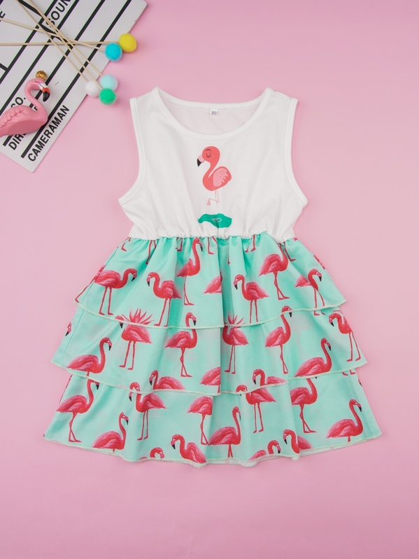 Toddler Girls Flamingo Print Tiered Layer A-line Dress, null