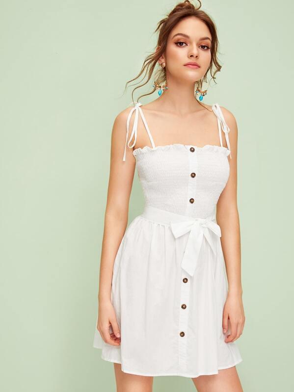 Shirred Button Front Knot Slip Dress, Natalia