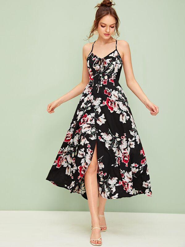 Large Floral Print Lace Up Wrap Slip Dress, Natalia