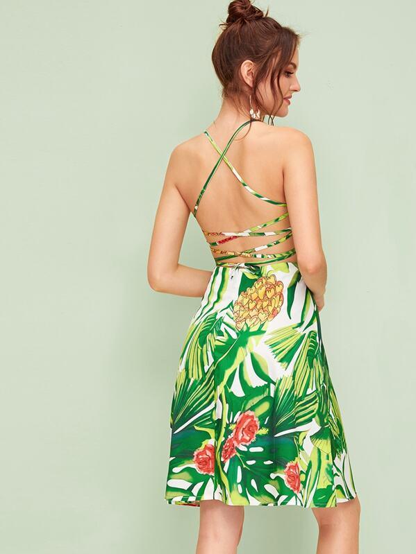 Tropical Print Lace Up Back Flare Slip Dress, Natalia