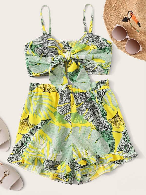 Tropical Print Tie Front Shirred Cami Top With Shorts, null