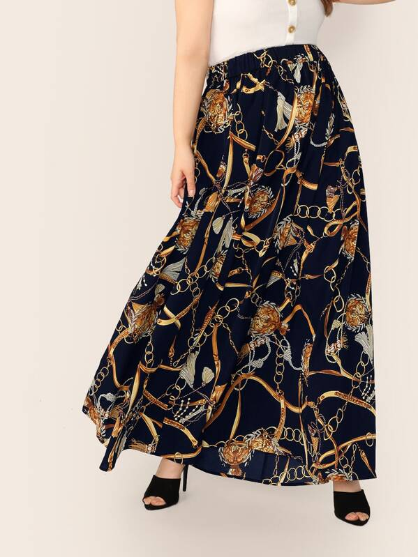 Plus Chain Print Maxi Skirt, Faith Bowman
