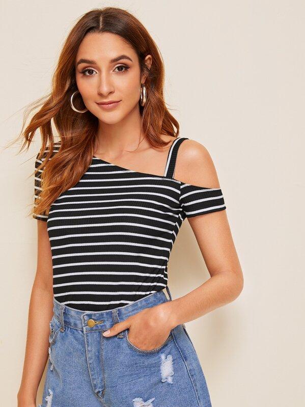 Asymmetrical Neck Striped Rib-knit Top, Gabi B