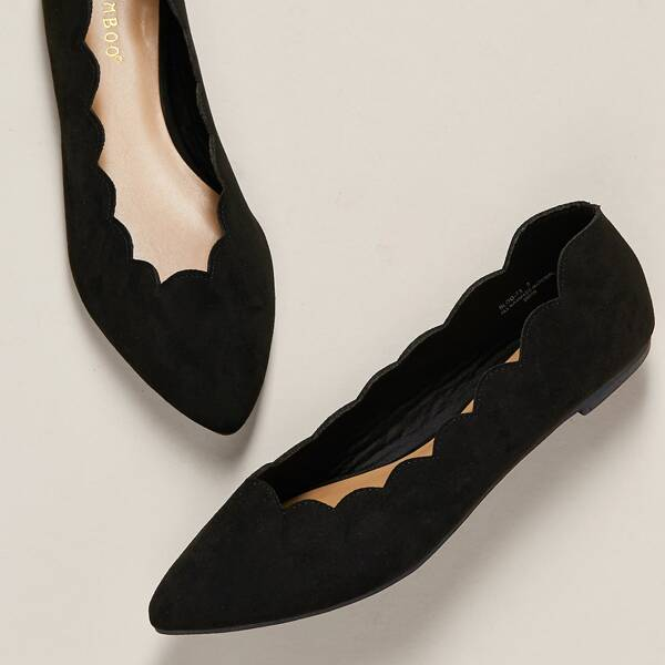 Pointed Toe Scalloped Edge Ballerina Flats