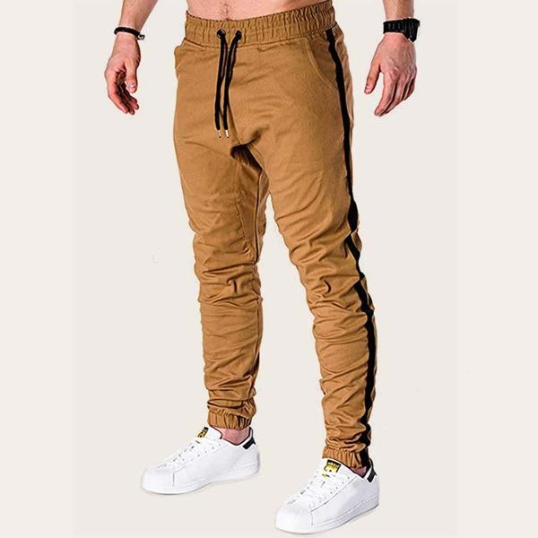 Men Side Tape Drawstring Waist Pants
