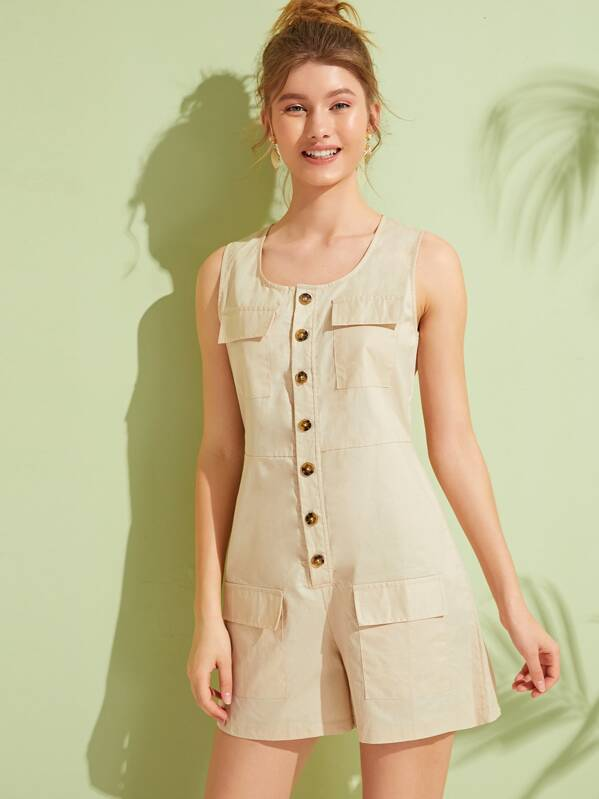 Solid Button Front Drawstring Waist Utility Romper, Lera C