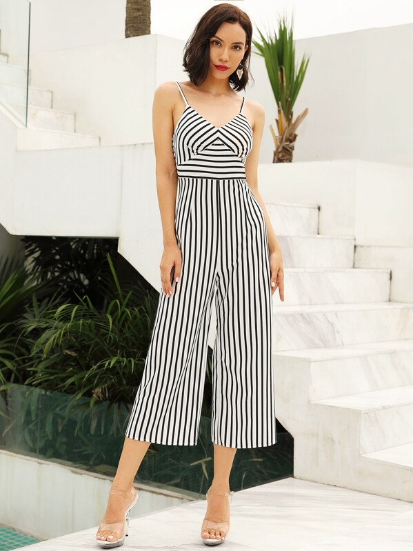 Zip Back Striped Cami Jumpsuit, null