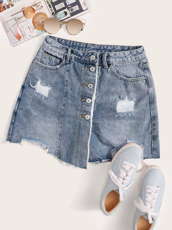 Button Front Ripped Denim Culotte Shorts, null