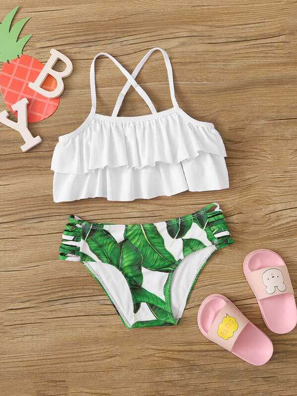 Girls Tiered Layer Top With Tropical Bikini Set, null