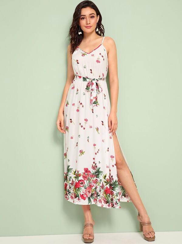 Flower Print Split Thigh Belted Slip Dress, Roberta B