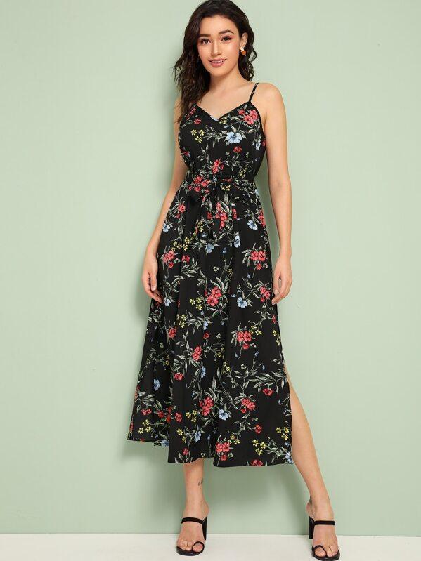 Floral Print Split Thigh Belted Slip Dress, Roberta B